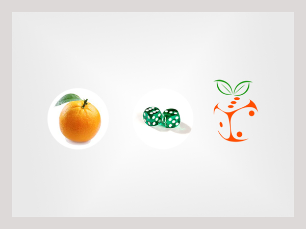 concept of orange dice